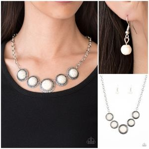 Paparazzi Mountain Roamer White Necklace Set